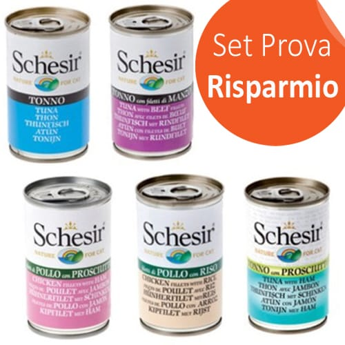SET PROVA! Schesir Cat Lattina 140g